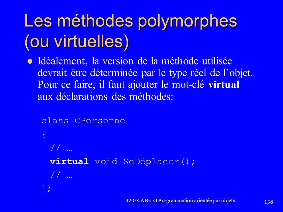 Les méthodes polymorphes (ou virtuelles)