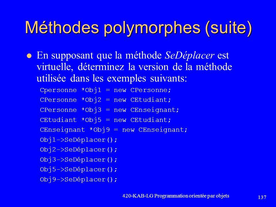 Méthodes polymorphes (suite)