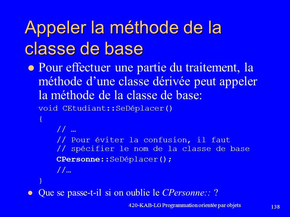 Appeler la méthode de la classe de base