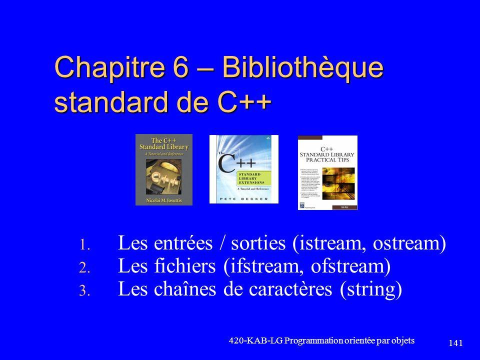Chapitre 6 – Bibliothèque standard de C++