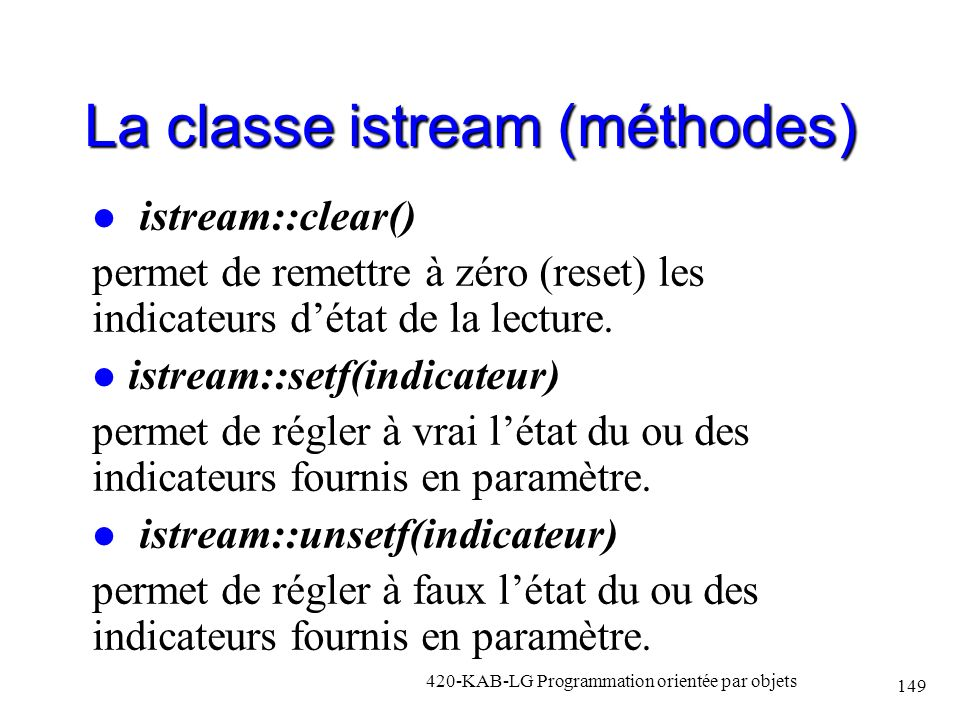 La classe istream (méthodes)