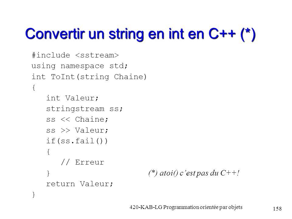 Convertir un string en int en C++ (*)