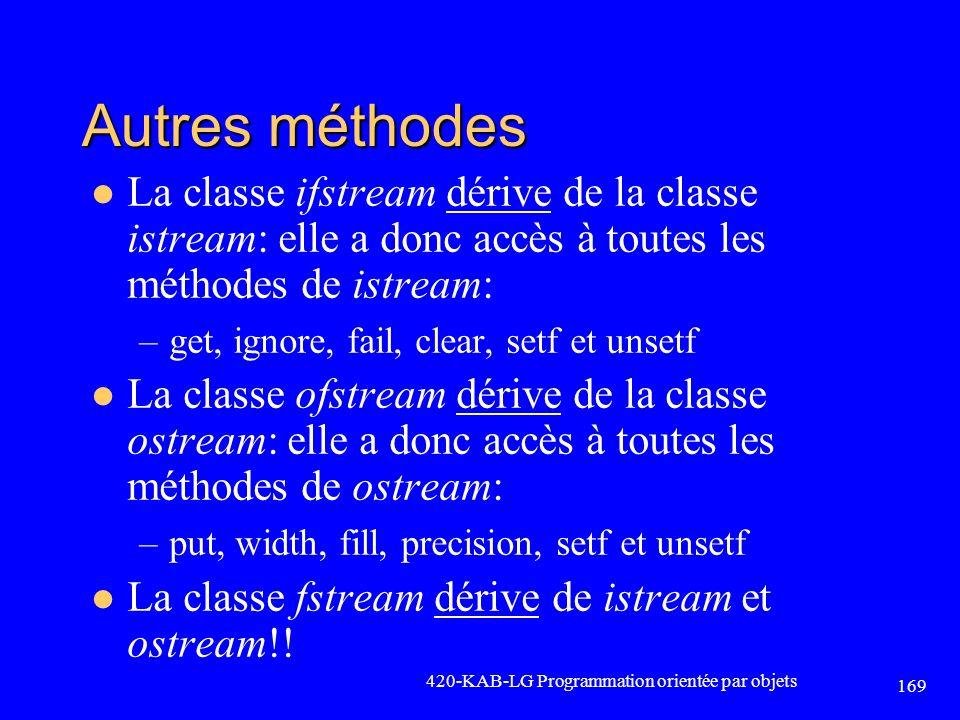 Autres méthodes La classe ifstream dérive de la classe istream: elle a donc accès à toutes les méthodes de istream: