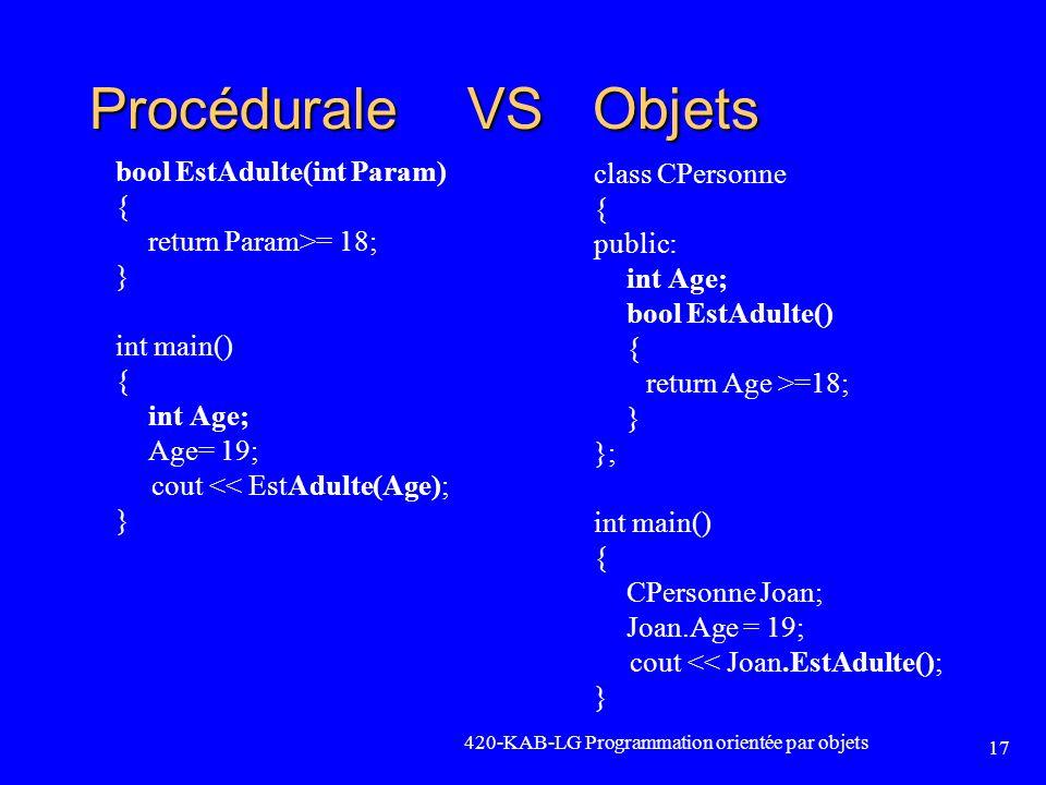 Procédurale VS Objets bool EstAdulte(int Param) class CPersonne { {