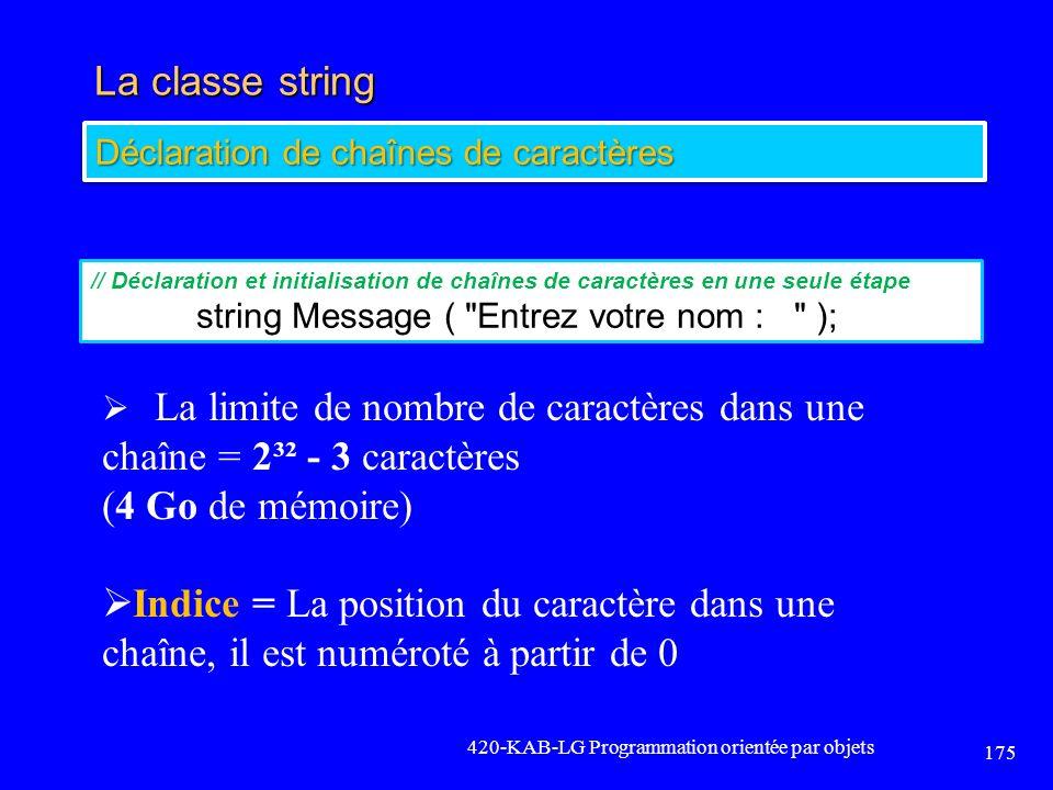 La classe string (4 Go de mémoire)