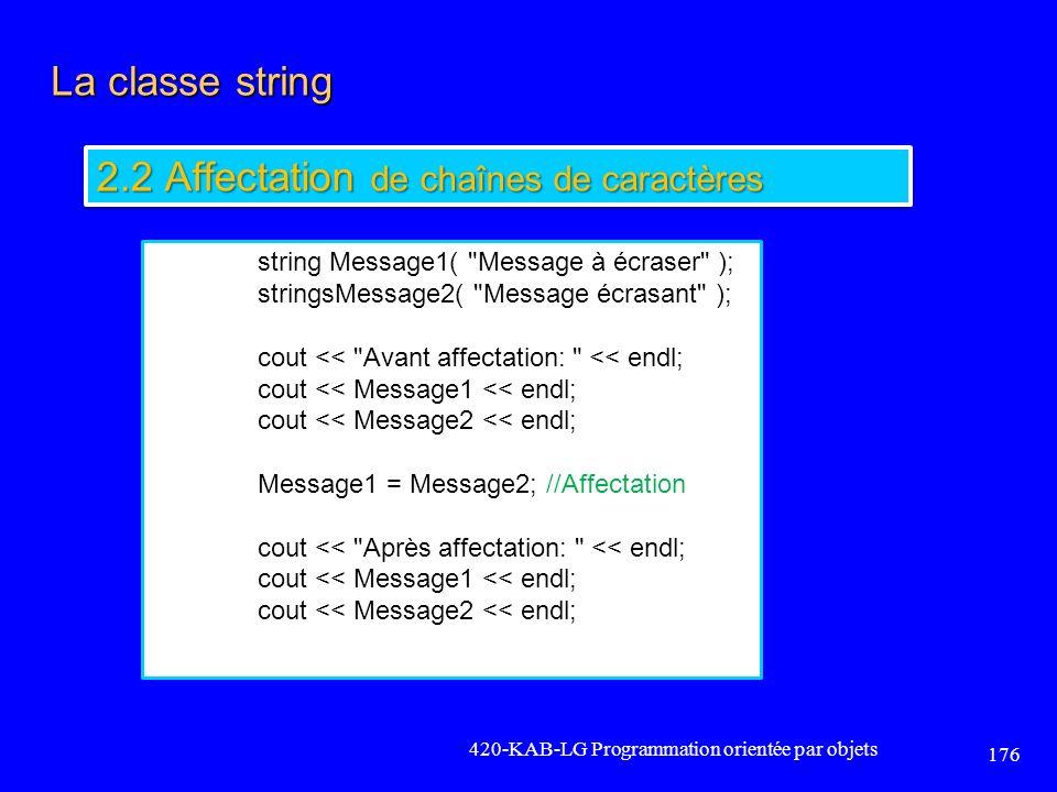 2.2 Affectation de chaînes de caractères