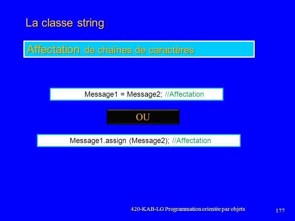 Affectation de chaînes de caractères