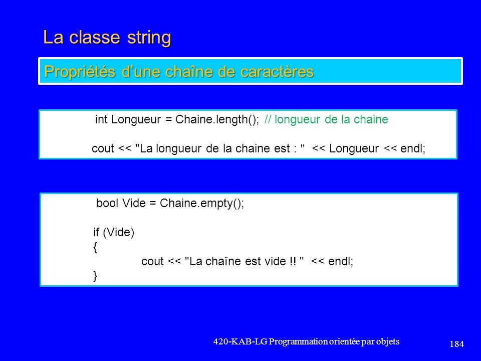 La classe string Propriétés d'une chaîne de caractères