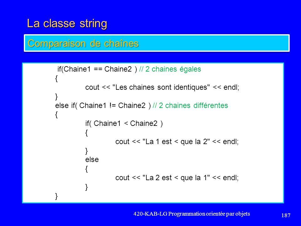 La classe string Comparaison de chaînes {