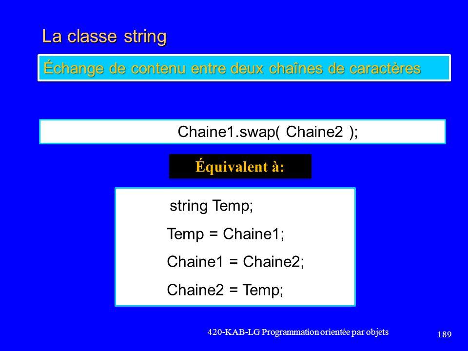La classe string Échange de contenu entre deux chaînes de caractères