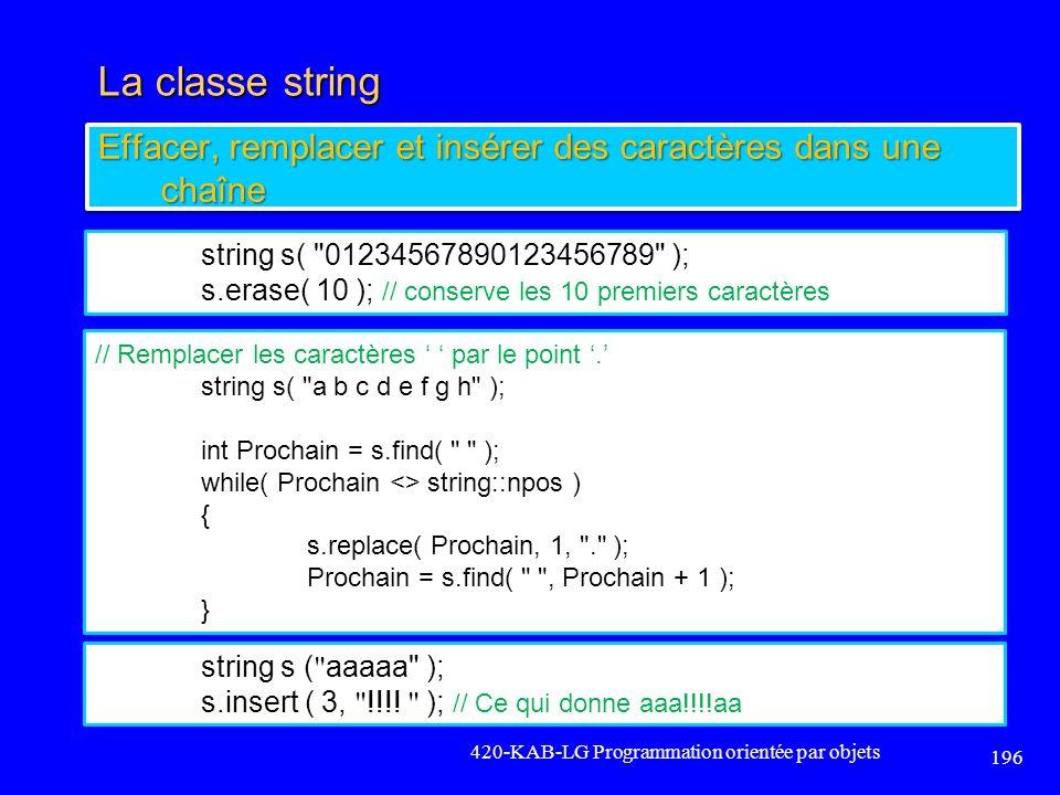 La classe string Effacer, remplacer et insérer des caractères dans une chaîne. string s( 01234567890123456789 );