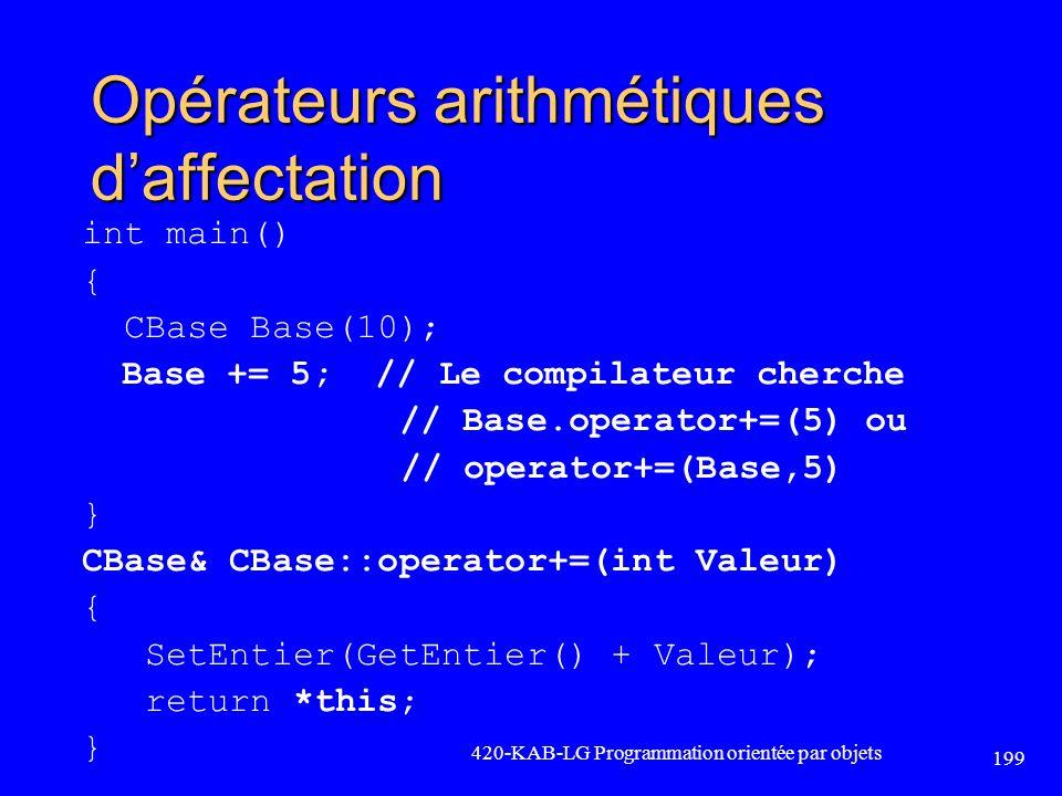 Opérateurs arithmétiques d'affectation