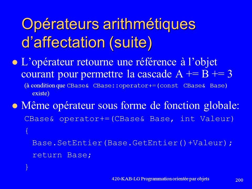Opérateurs arithmétiques d'affectation (suite)