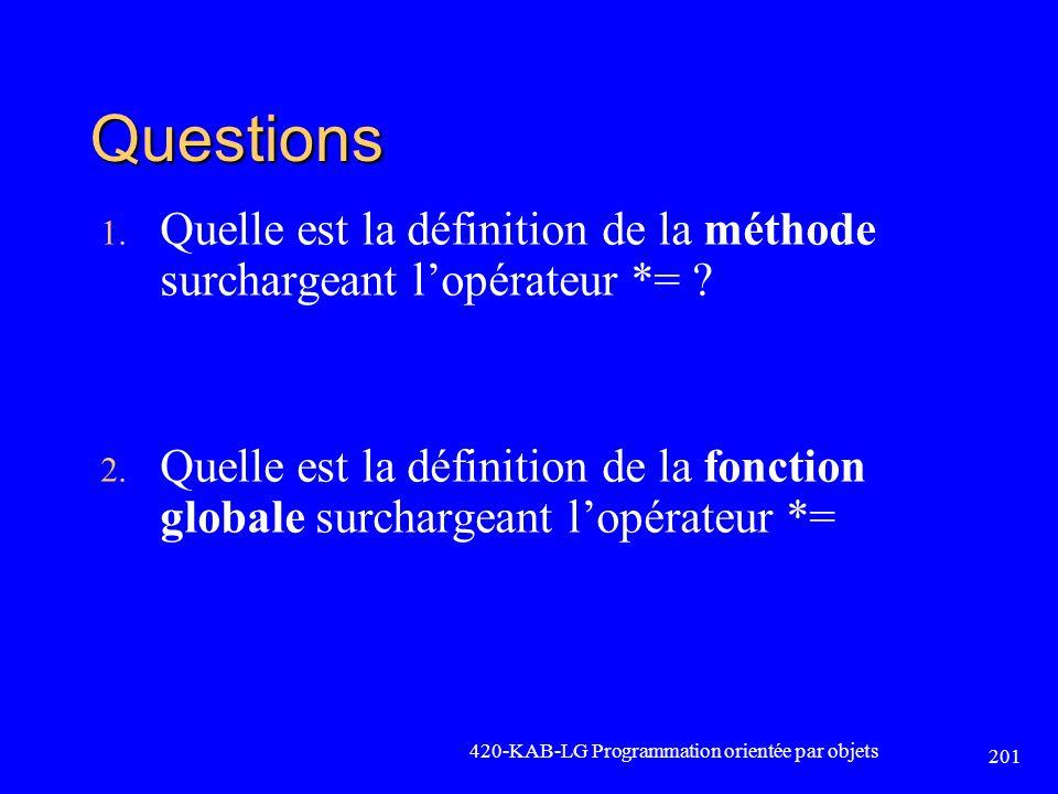 Questions Quelle est la définition de la méthode surchargeant l'opérateur *=