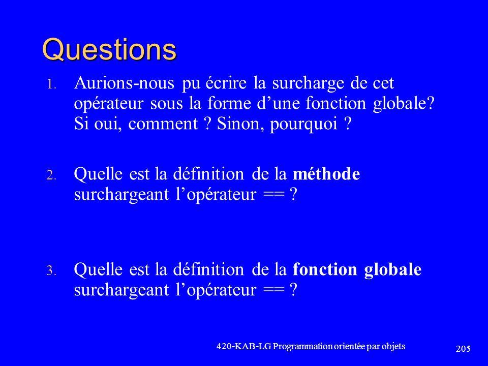 Questions Aurions-nous pu écrire la surcharge de cet opérateur sous la forme d'une fonction globale Si oui, comment Sinon, pourquoi