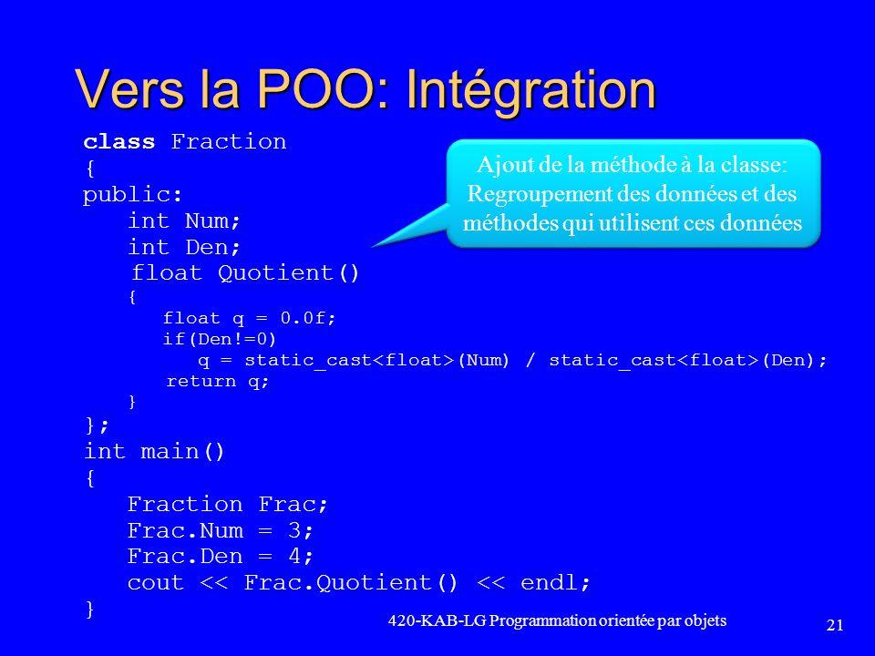 Vers la POO: Intégration
