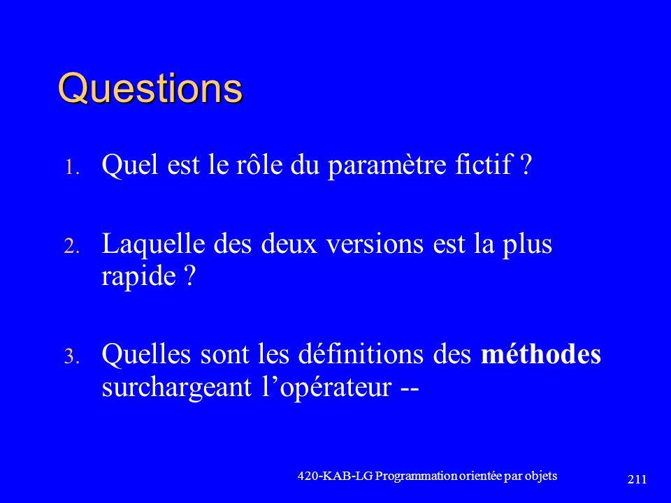Questions Quel est le rôle du paramètre fictif