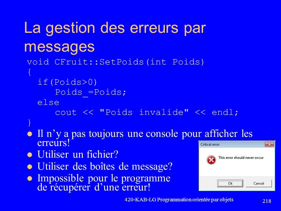 La gestion des erreurs par messages