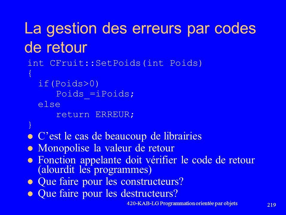 La gestion des erreurs par codes de retour