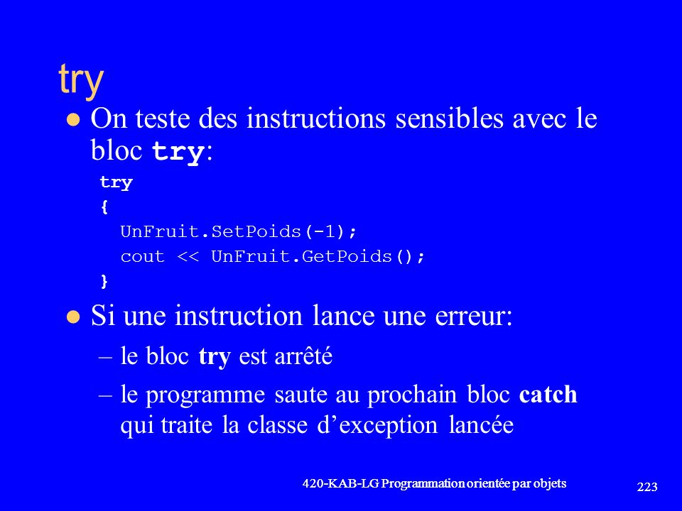 try On teste des instructions sensibles avec le bloc try: