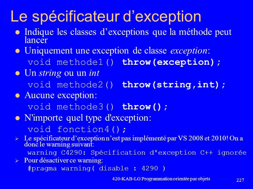 Le spécificateur d'exception
