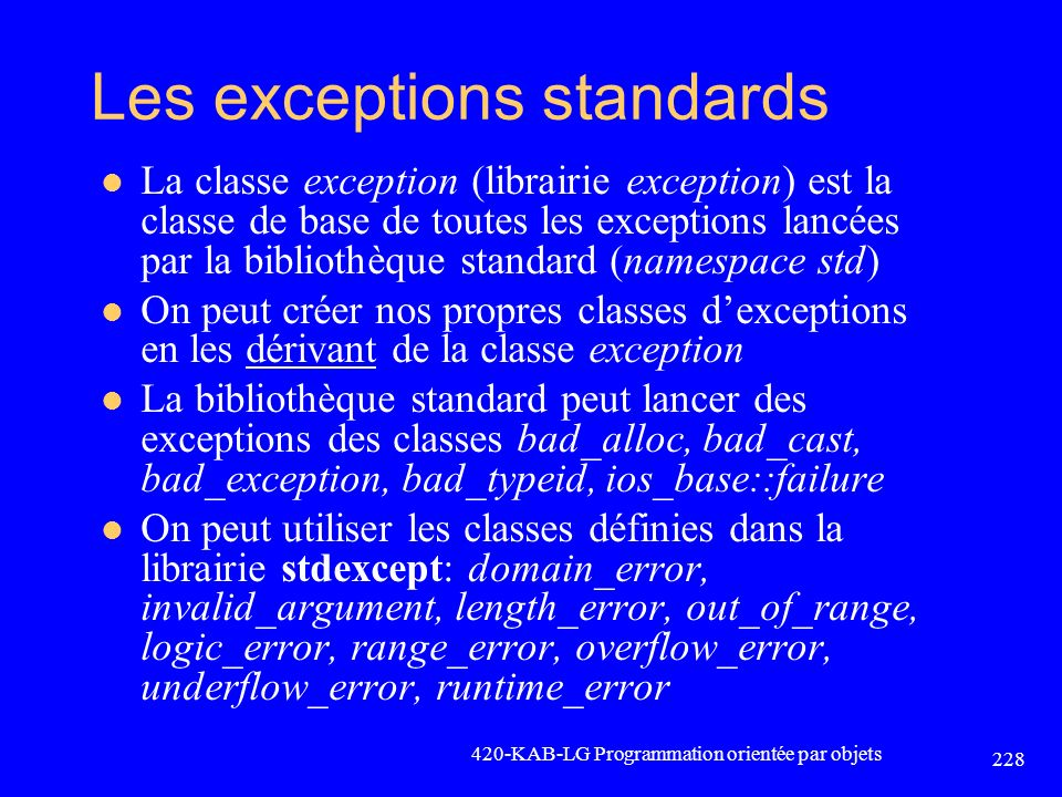 Les exceptions standards