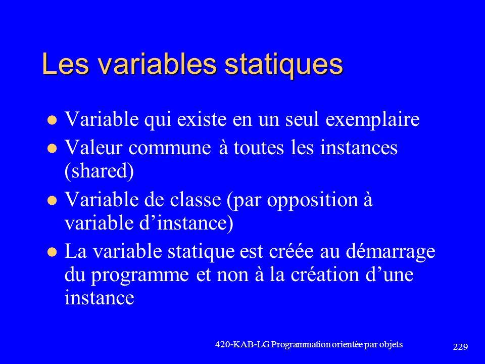 Les variables statiques