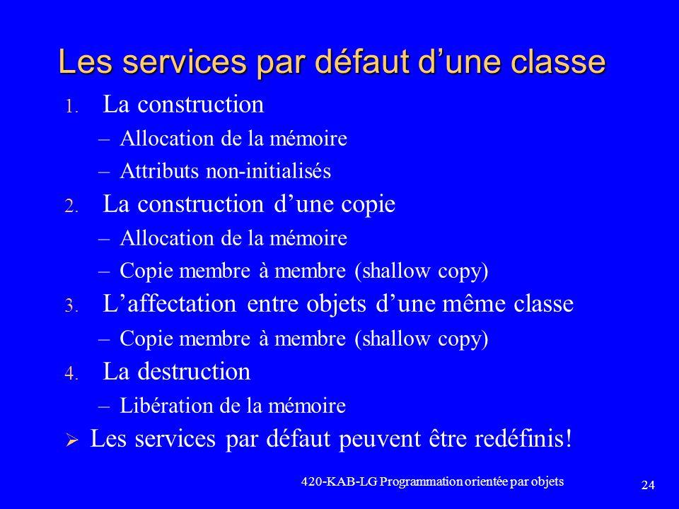 Les services par défaut d'une classe