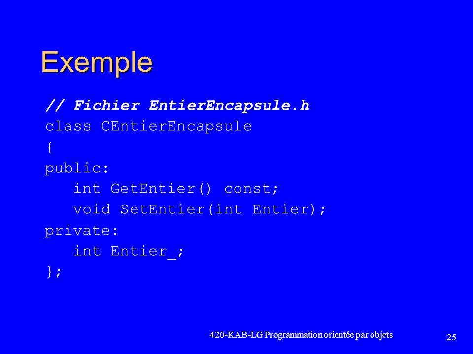 Exemple // Fichier EntierEncapsule.h class CEntierEncapsule { public: int GetEntier() const; void SetEntier(int Entier); private: int Entier_; };