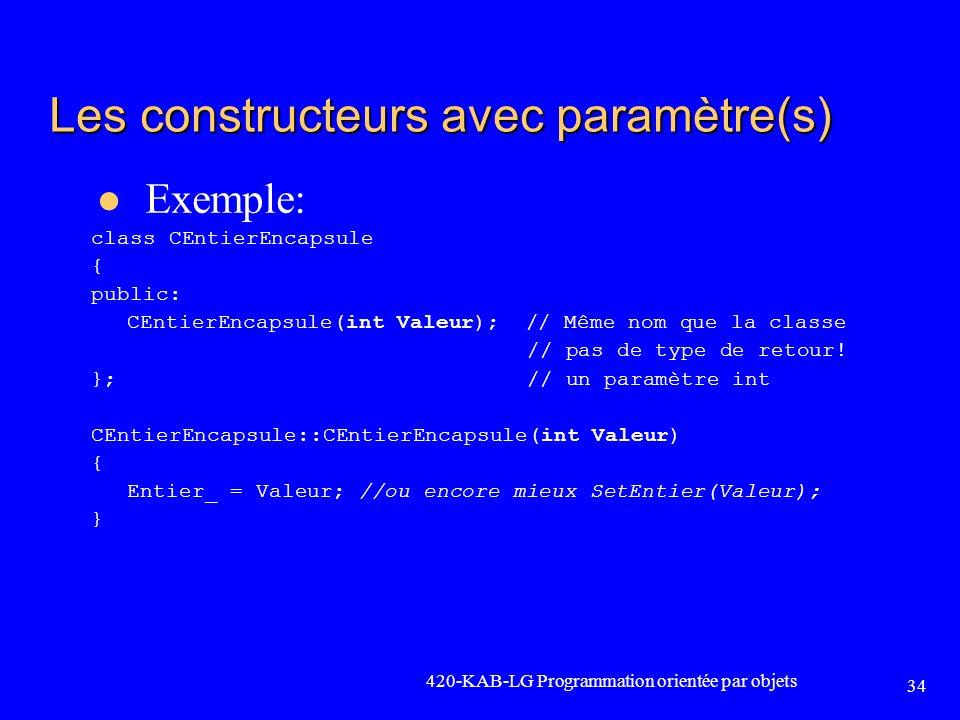 Les constructeurs avec paramètre(s)