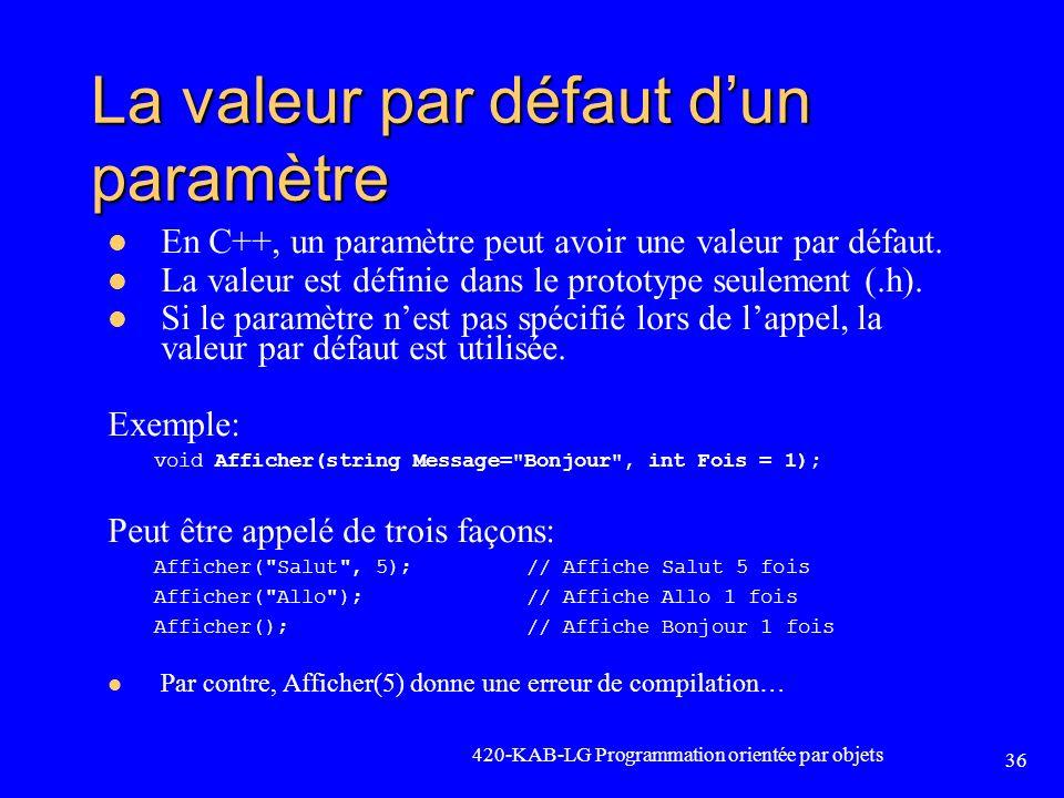 La valeur par défaut d'un paramètre
