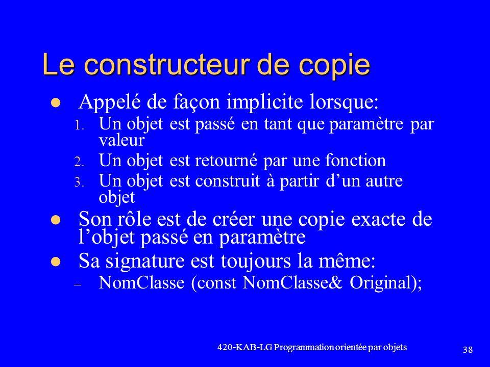 Le constructeur de copie