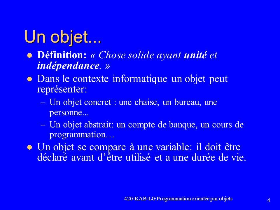 Un objet... Définition: « Chose solide ayant unité et indépendance. »