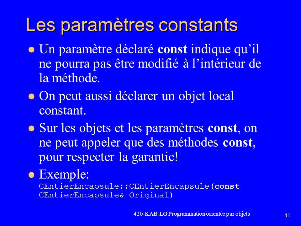 Les paramètres constants