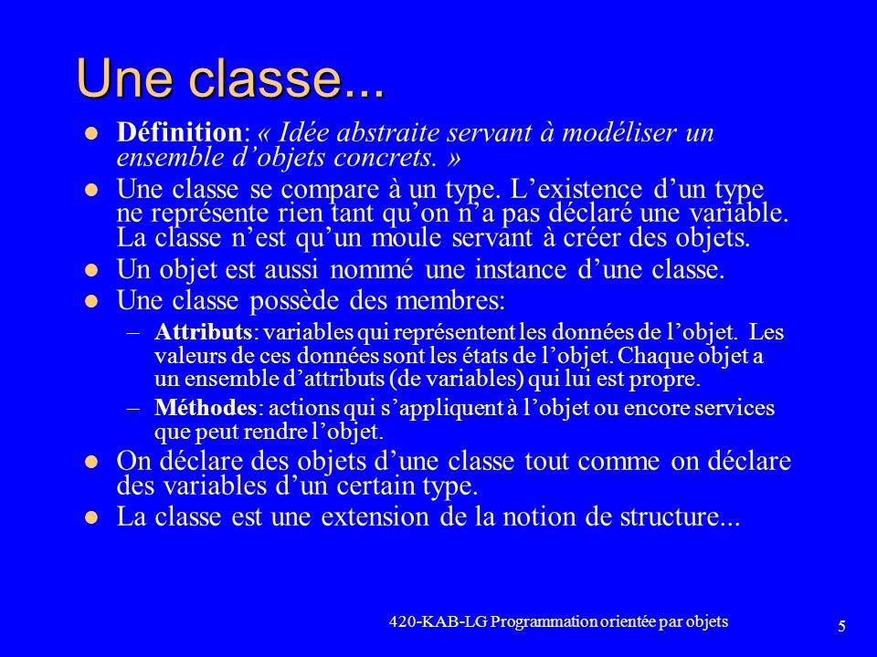 Une classe... Définition: « Idée abstraite servant à modéliser un ensemble d'objets concrets. »