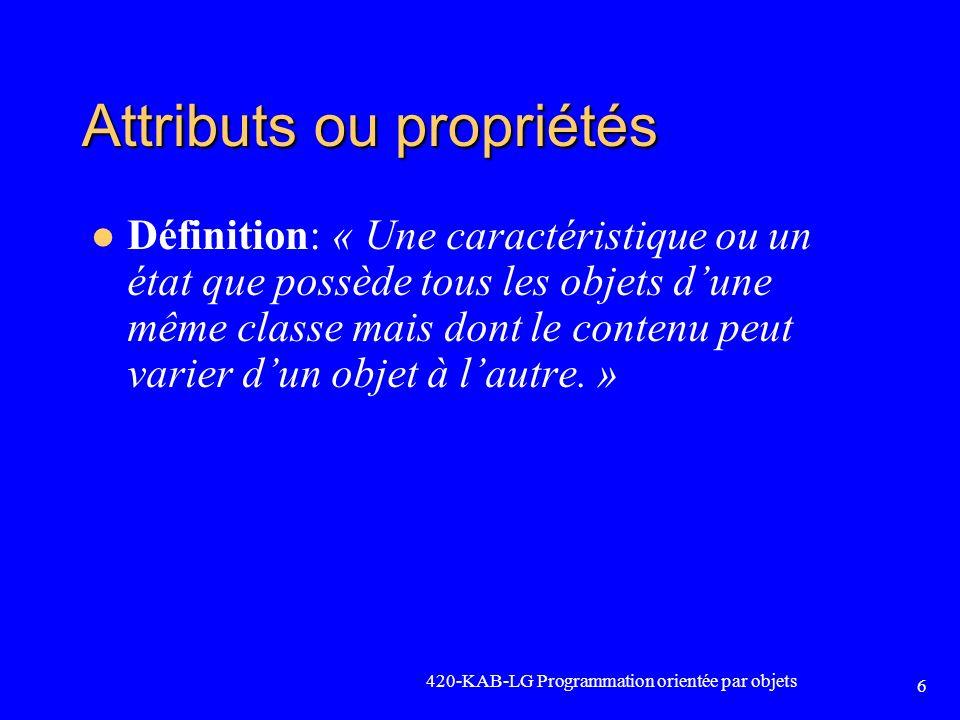 Attributs ou propriétés