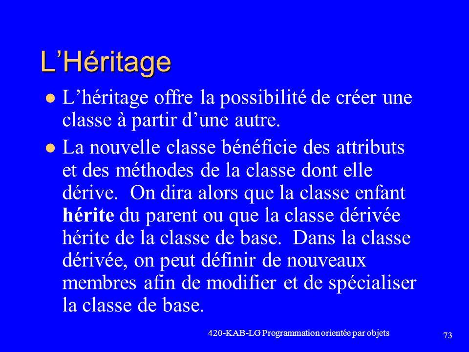 L'Héritage L'héritage offre la possibilité de créer une classe à partir d'une autre.