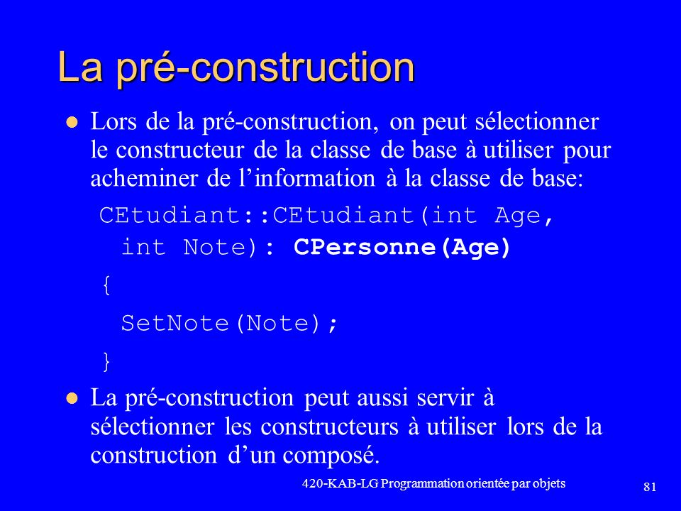 La pré-construction
