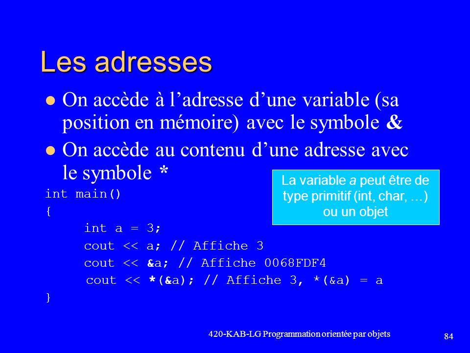 La variable a peut être de type primitif (int, char, …) ou un objet