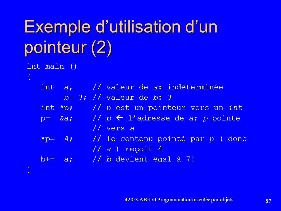 Exemple d'utilisation d'un pointeur (2)