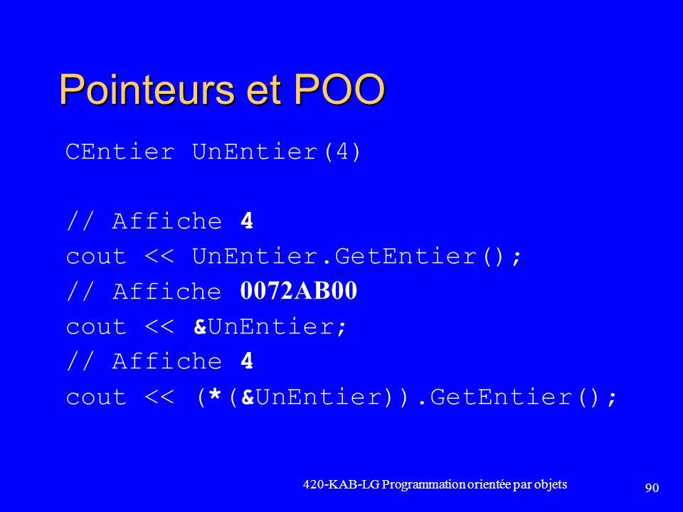 Pointeurs et POO CEntier UnEntier(4) // Affiche 4