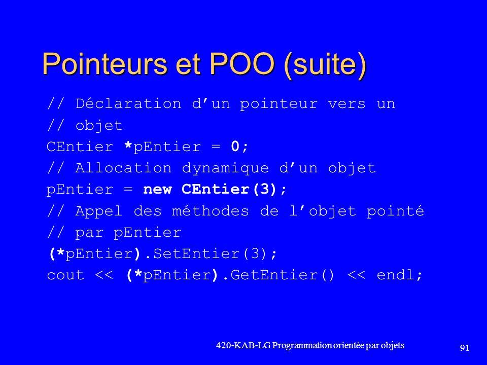 Pointeurs et POO (suite)
