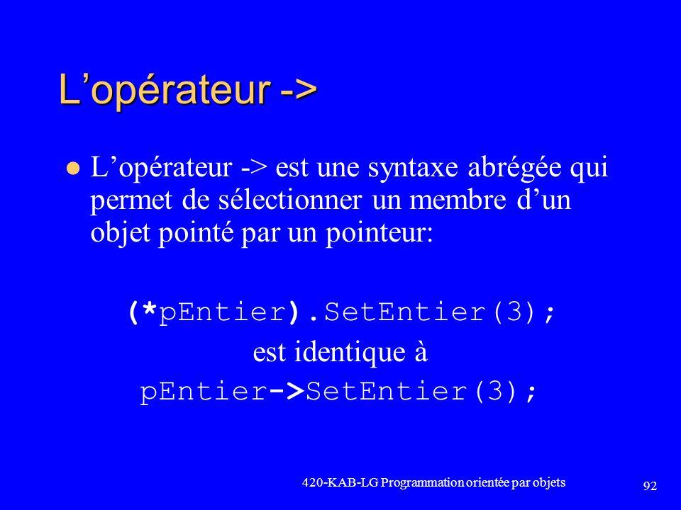 L'opérateur -> L'opérateur -> est une syntaxe abrégée qui permet de sélectionner un membre d'un objet pointé par un pointeur:
