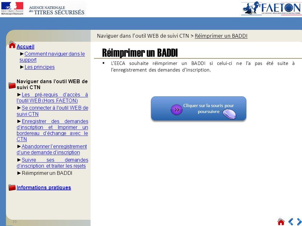 Naviguer dans l'outil WEB de suivi CTN > Réimprimer un BADDI