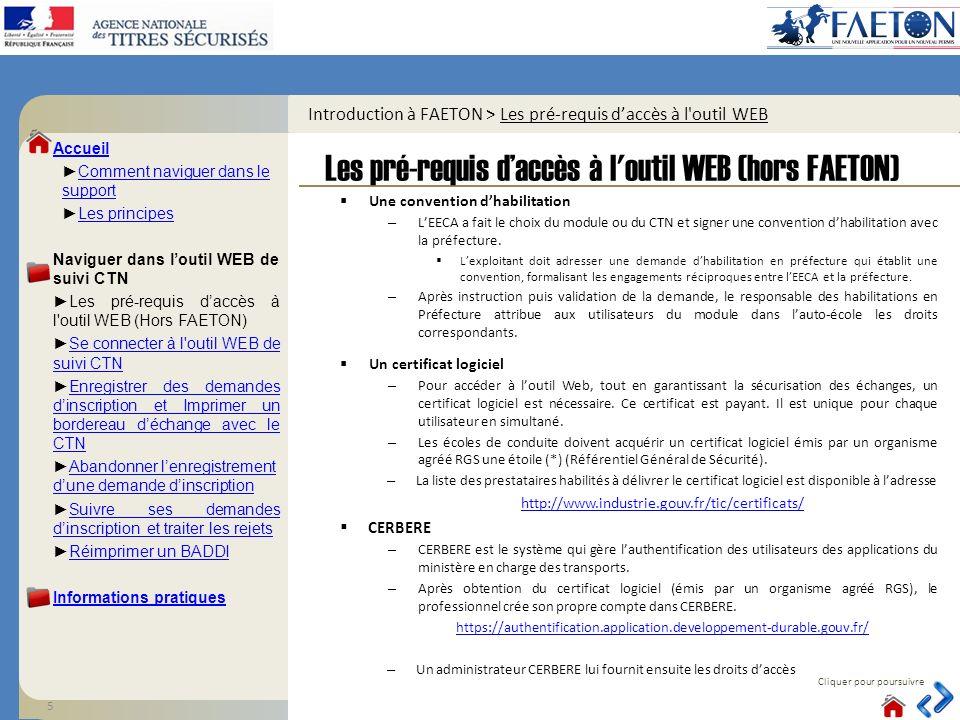 Introduction à FAETON > Les pré-requis d'accès à l outil WEB
