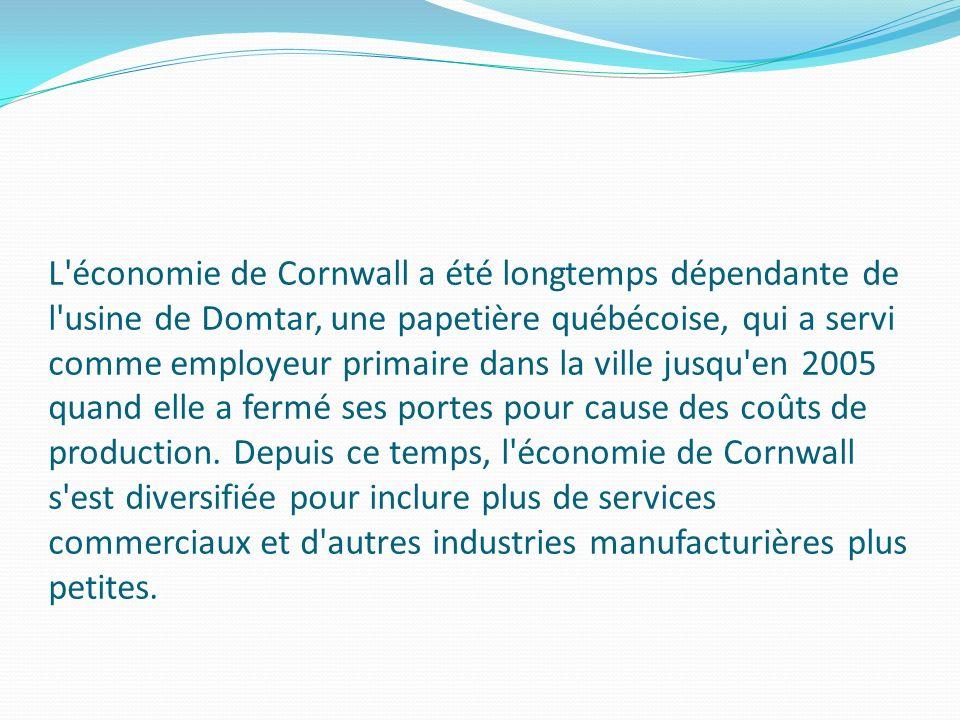 L économie de Cornwall a été longtemps dépendante de l usine de Domtar, une papetière québécoise, qui a servi comme employeur primaire dans la ville jusqu en 2005 quand elle a fermé ses portes pour cause des coûts de production.