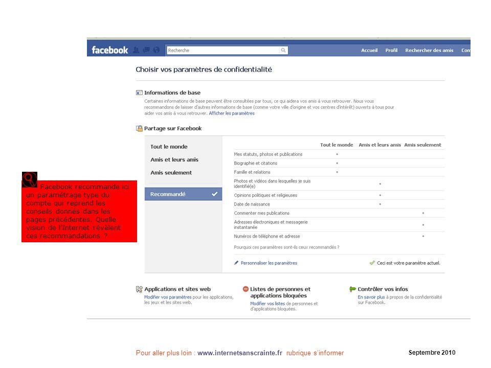 Facebook recommande ici un paramétrage type du compte qui reprend les conseils donnés dans les pages précédentes. Quelle vision de l'Internet révèlent ces recommandations