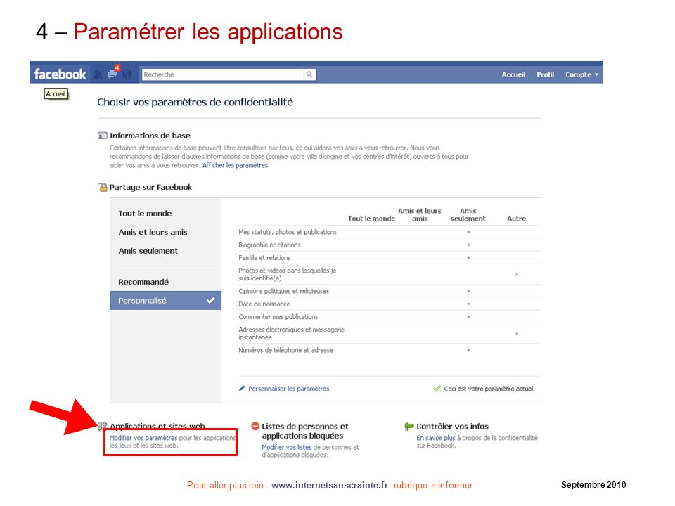 4 – Paramétrer les applications