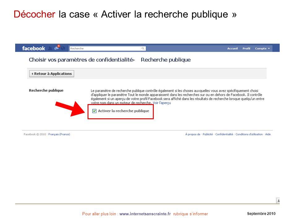 Décocher la case « Activer la recherche publique »