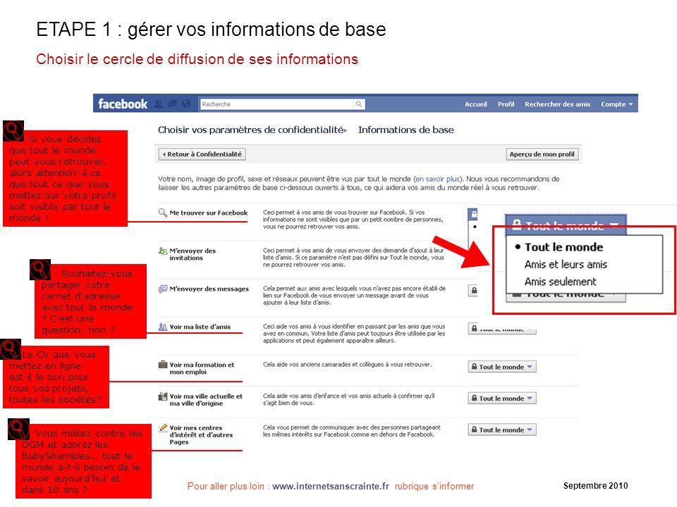 ETAPE 1 : gérer vos informations de base